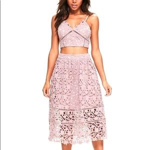 Missguided premium strappy lace bralette and skirt